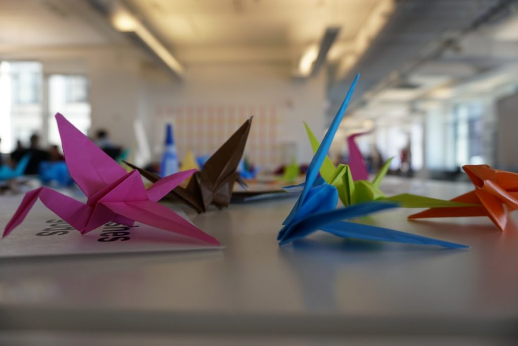 Lin taught us how to get the gods to grant our wishes by making origami cranes.