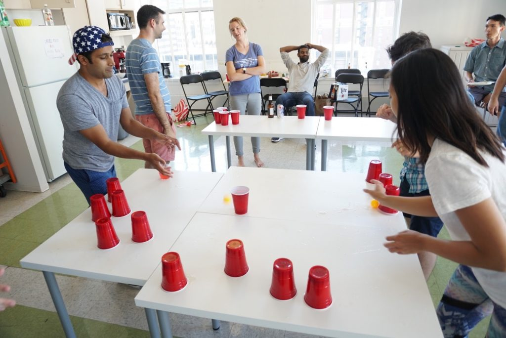 Equipped with Solo cups and backwards caps, we try to prove we're not hopeless nerds. Some of us were totally in frats!