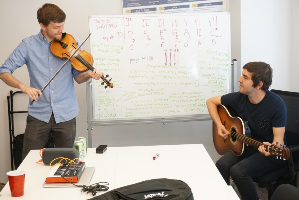 A number of fellows demonstrated their musical talents, including Henry and Diego teaching how to write folk songs, and Eddie teaching how to make beats.